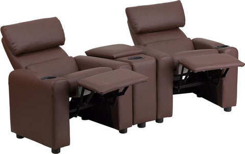 Flash Furniture BT-70592-BN-LEA-GG Kid's Brown Leather Reclining Theater Seating with Storage Console - Peazz.com - 1