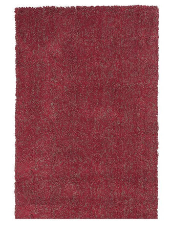 KAS Rugs Bliss 1584 Red Heather Shag Hand-Woven & Other 100% Polyester 5' x 7'