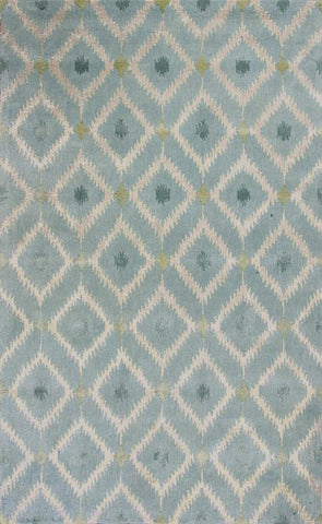 "KAS Rugs Bob Mackie Home 1018 Ice Blue Mirage Hand-Tufted Wool & Viscose Blend 2'6"" x 8' Runner"