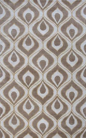 "KAS Rugs Bob Mackie Home 1020 Beige Eye Of The Peacock Hand-Tufted Wool & Viscose Blend 2'6"" x 8' Runner"