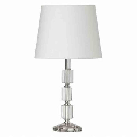 Dainolite C11T-PC 1LT Table Lamp 3Crystal column w/Wht Shd