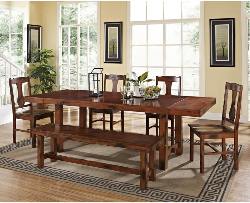 Walker Edison Dark Oak Wood Dining Set Piece