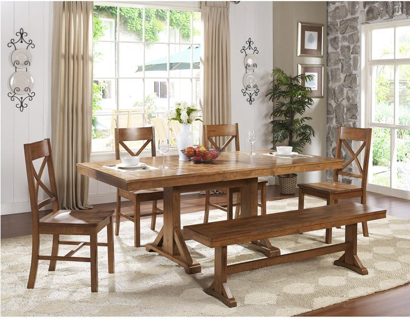 Walker Edison Antique Brown Wood Dining Set