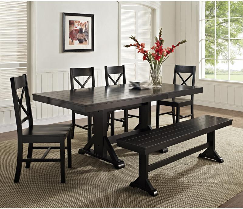Black Wood Dining Set ***ships Ltl*** Piece 4229 Product Photo