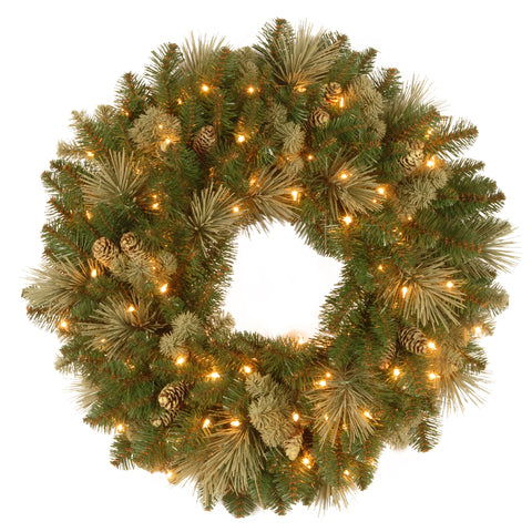 "National Tree CAP3-306-24W-1 24"" Carolina Pine Wreath with 10 Flocked Cones and 50 Clear Lights"