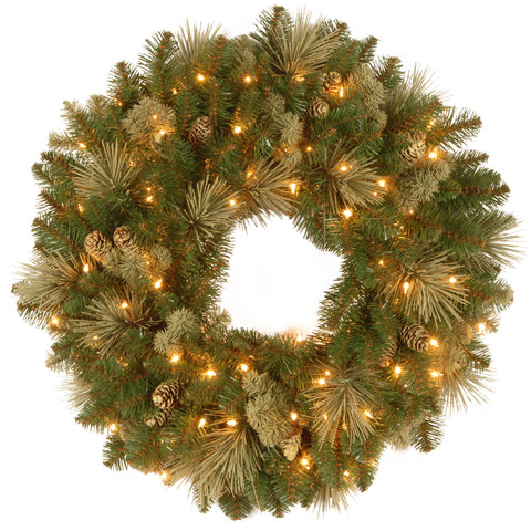 "National Tree CAP3-306-30W-1 30"" Carolina Pine Wreath with 14 Flocked Cones and 100 Clear Lights"