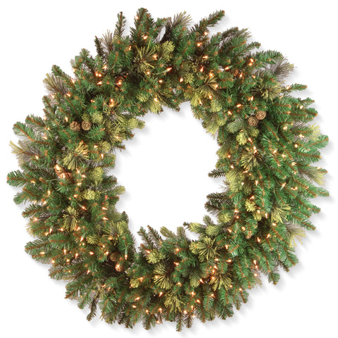 "National Tree CAP3-306-48W 48"" Carolina Pine Wreath with 200 Clear Lights"