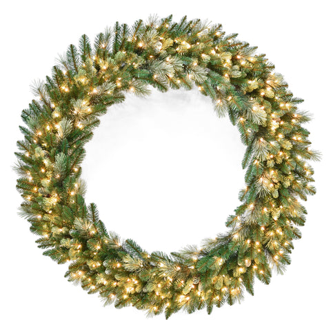 "National Tree CAP3-306-60W 60"" Carolina Pine Wreath with 300 Clear Lights"