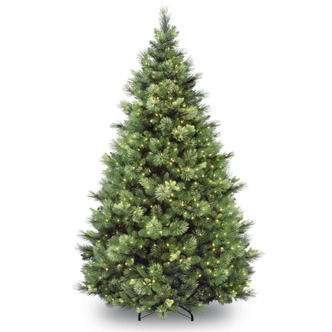 National Tree CAP3-306-75 7 1/2' Carolina Pine Hinged Tree with 86 Flocked Cones and 750 Clear Lights