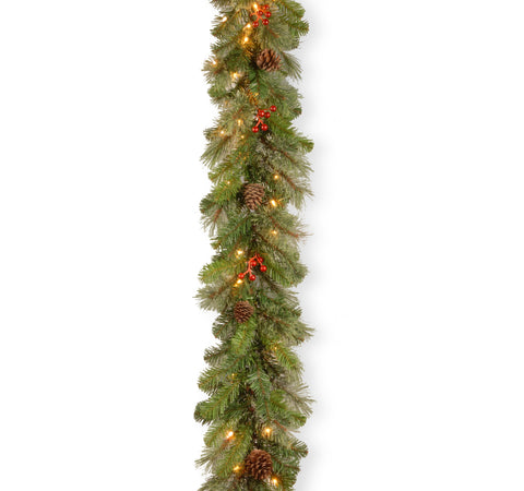 "National Tree CB4-300-9B-1 9'x12"" Cashmere Berry Collection Garland with 11 Cones, 11 Red Berries & 70 Clear Lights"