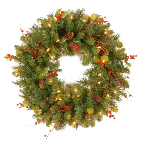 "National Tree CC1-301-24W-1 24"" Classical Collection Wreath with Red Berries, Cones, Holly Leaves and 50 Clear Lights"