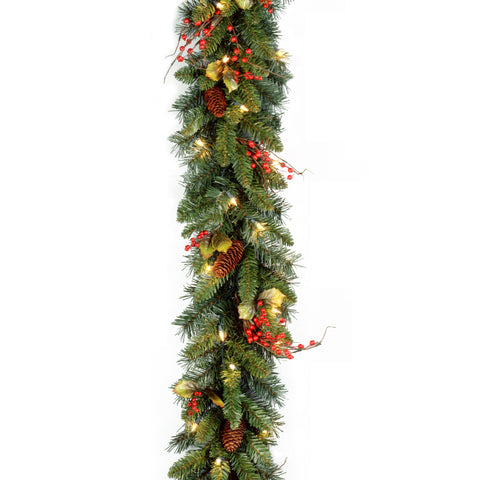 "National Tree CC1-301-9A-1 9' x10"" Classical Collection Garland with Red Berries, Cones, Holly Leaves and 50 Clear Lights"
