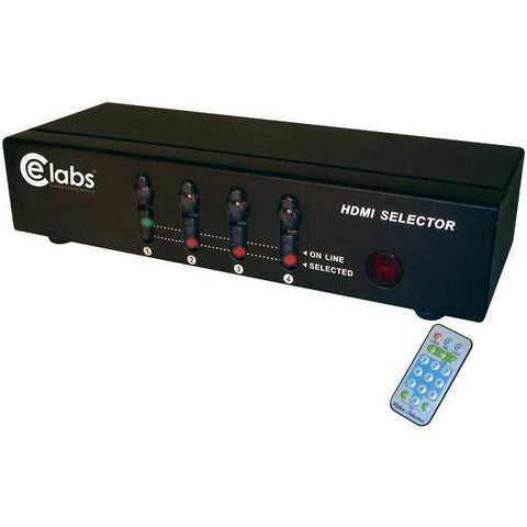 CE Labs HM41SR 4-In, 1-Out HDMI Switcher with Remote - Peazz.com