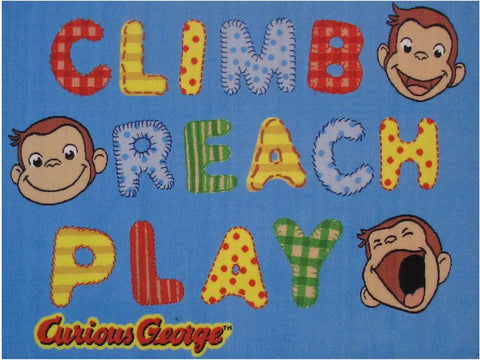 Fun Rugs CG-02 3958 Curious George Collection George Climb, Reach,Play Multi-Color - 39 x 58 in. - Peazz.com