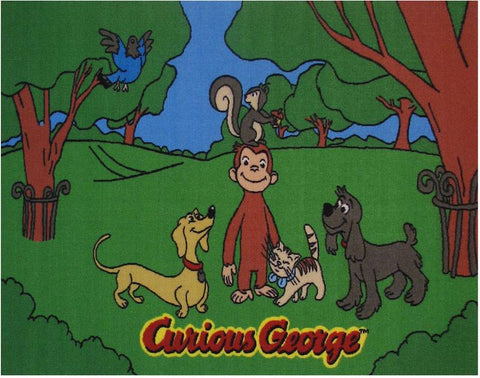 Fun Rugs CG-05 3958 Curious George Collection George & Friends Multi-Color - 39 x 58 in. - Peazz.com