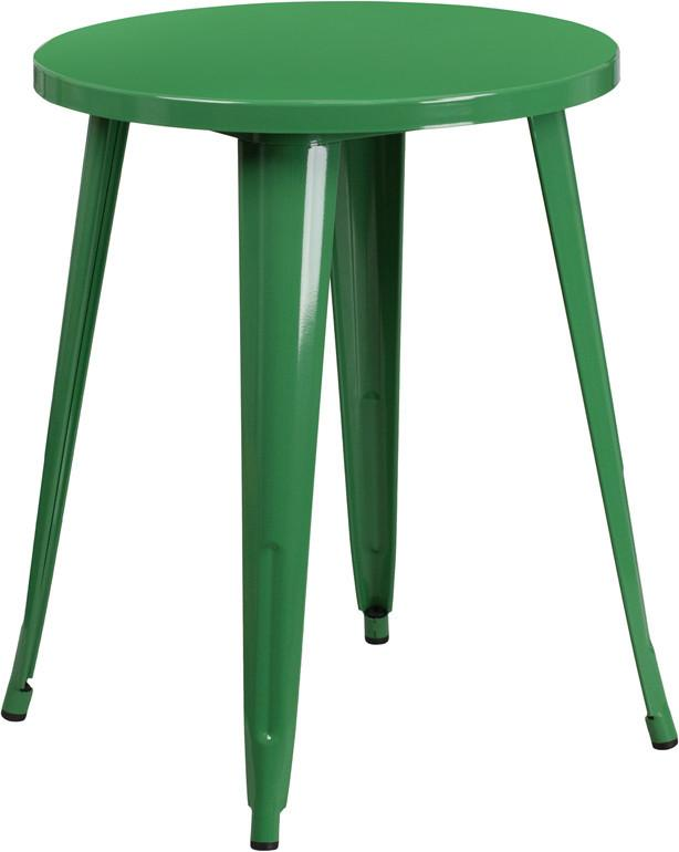 24 Round Green Metal Indoor Outdoor Table