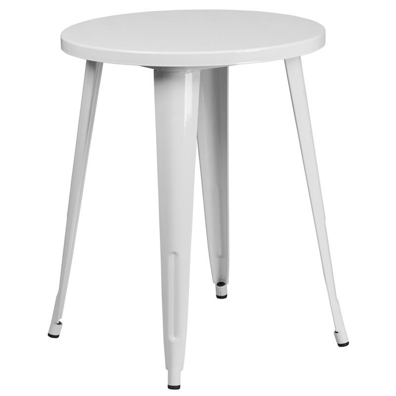 24 Round White Metal Indoor Outdoor Table