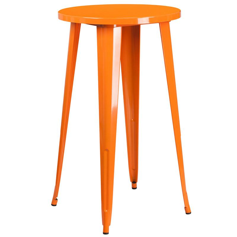 24 Round Orange Metal Indoor Outdoor Bar Height Table
