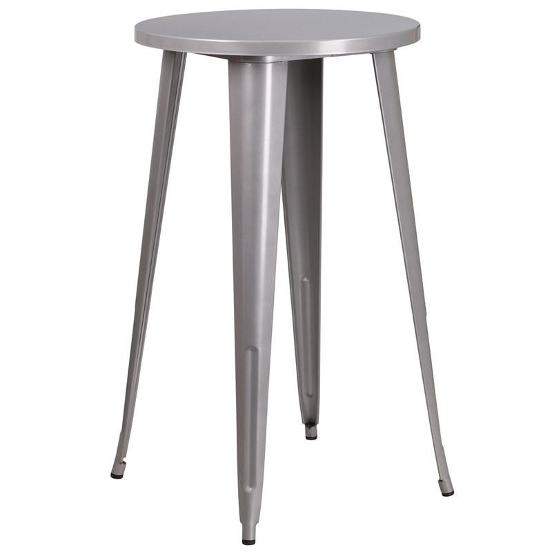24 Round Silver Metal Indoor Outdoor Bar Height Table