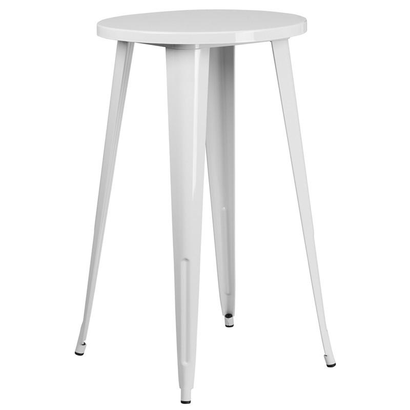 24 Round White Metal Indoor Outdoor Bar Height Table