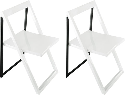 Corner Housewares CH-57 High Contrast Glossy Folding Chair (Set of 2)