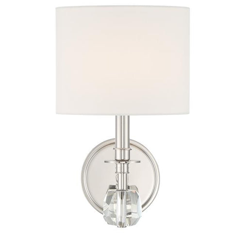 Crystorama Chimes 1 Light Polished Nickel Sconce