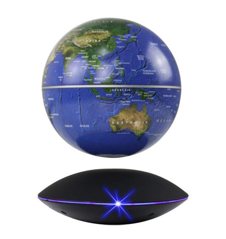 "6"" Magnetic Rotating Anti-Gravity Floating Levitating Globe, Dark Blue, Black Base"