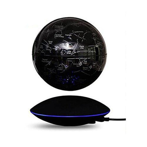 "6"" Magnetic Floating Levitating Colorful Globe with Stars LED Night Lights, Black, Black Base"