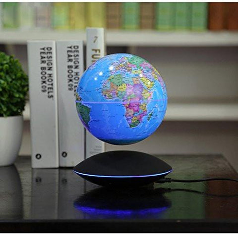"6"" Magnetic Rotating Anti-Gravity Floating Levitating Globe, Light Blue, Black Base"
