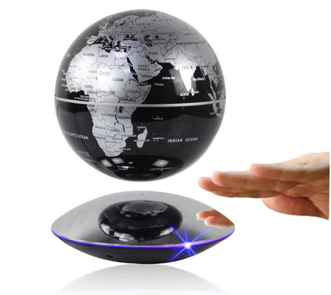 "6"" Magnetic Rotating Anti-Gravity Floating Levitating Globe, Black, Mirror Base (Glossy Finish)"