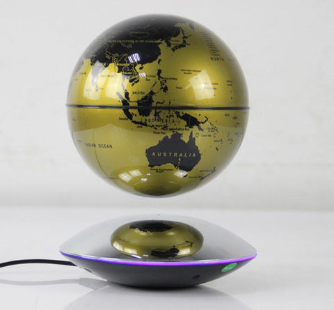 "6"" Magnetic Rotating Anti-Gravity Floating Levitating Globe, Gold, Mirror Base"