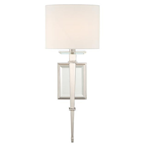 Crystorama Clifton 1 Light Polished Nickel Sconce