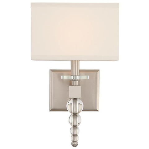 Crystorama Clover 1 Light Brushed Nickel Sconce
