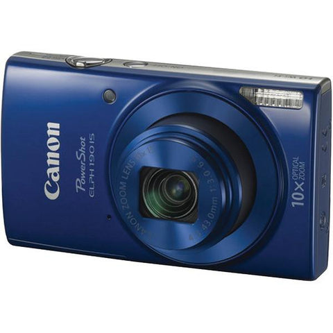 Canon 1090C001 20.0-Megapixel PowerShot ELPH 190 IS Camera (Blue) - Peazz.com