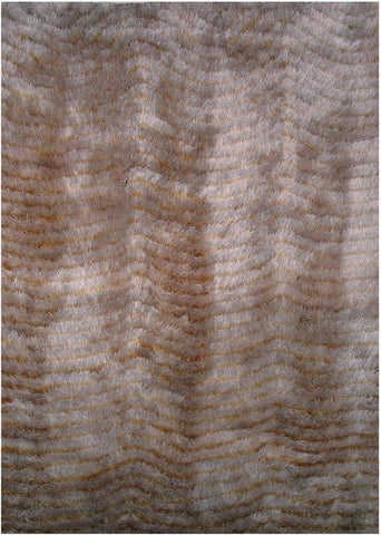 LA Rug CO-214-5X73 Contempo Shaggy Collection Light Gold/Light Ivory - Peazz.com
