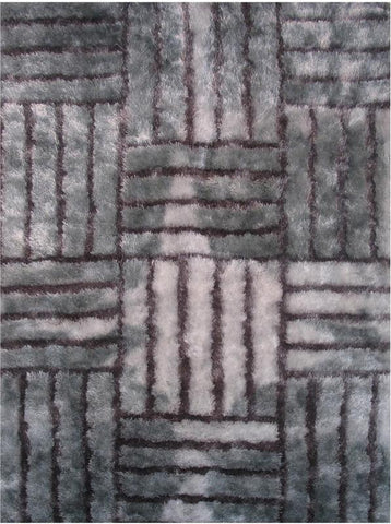 LA Rug CO-217-5X73 Contempo Shaggy Collection Light/Dark Silver - Peazz.com