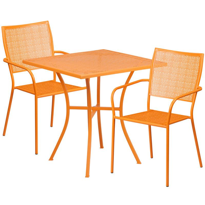 28 Square Orange Indoor Outdoor Steel Patio Table Set with 2 Square Back Chairs