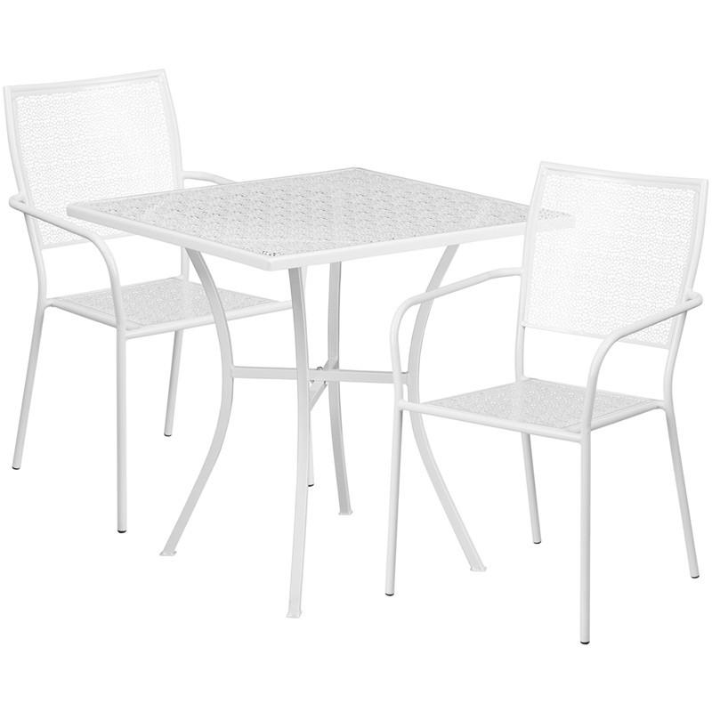 28 Square White Indoor Outdoor Steel Patio Table Set with 2 Square Back Chairs