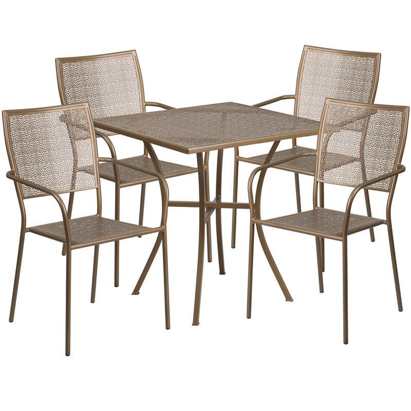 28 Square Gold Indoor Outdoor Steel Patio Table Set with 4 Square Back Chairs