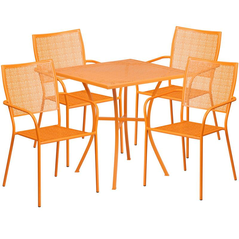 28 Square Orange Indoor Outdoor Steel Patio Table Set with 4 Square Back Chairs