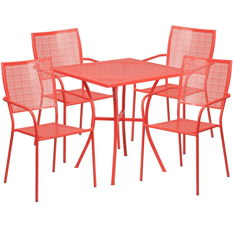 28 Square Coral Indoor Outdoor Steel Patio Table Set with 4 Square Back Chairs