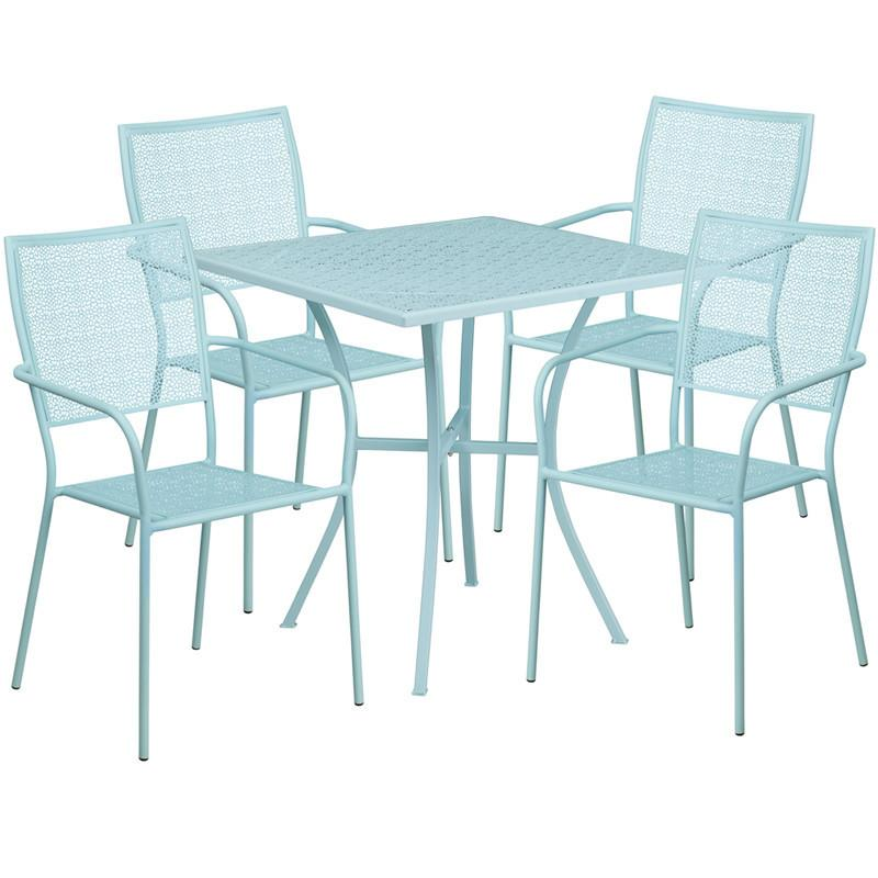 28 Square Sky Blue Indoor Outdoor Steel Patio Table Set with 4 Square Back Chairs