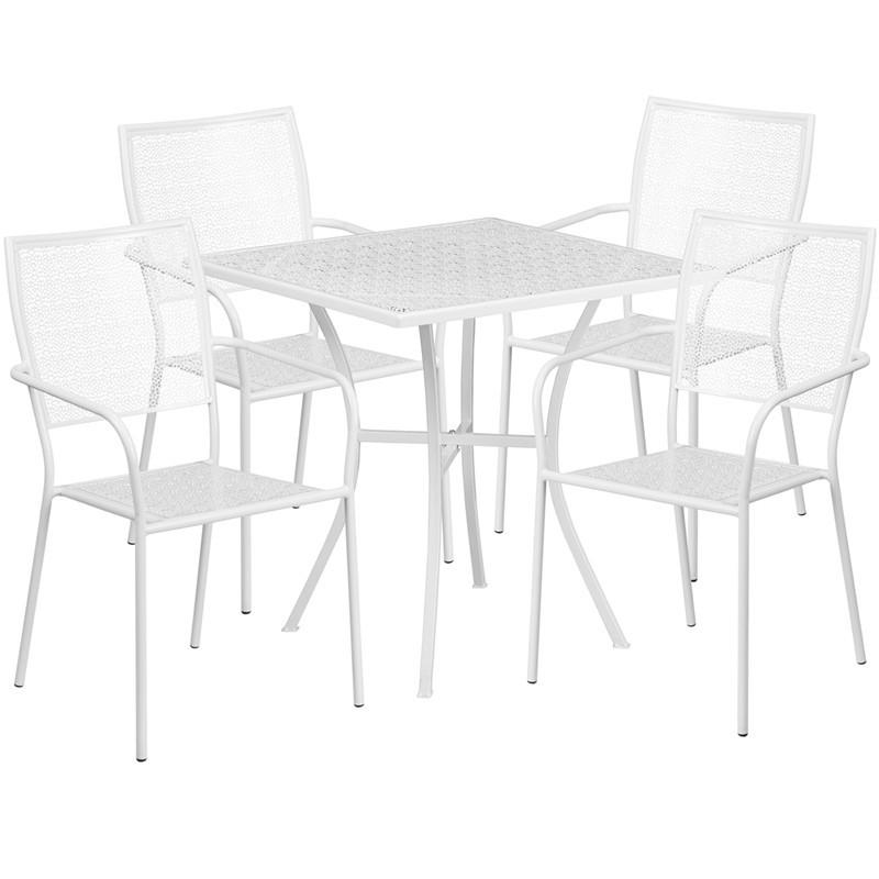 28 Square White Indoor Outdoor Steel Patio Table Set with 4 Square Back Chairs