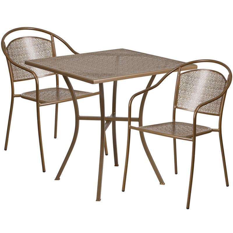 28 Square Gold Indoor Outdoor Steel Patio Table Set with 2 Round Back Chairs
