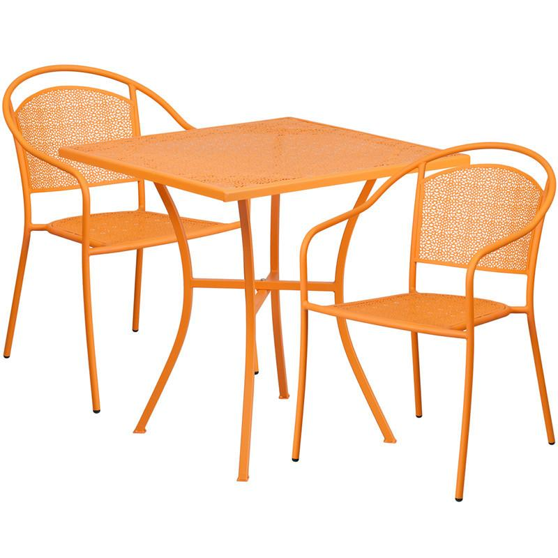 28 Square Orange Indoor Outdoor Steel Patio Table Set with 2 Round Back Chairs