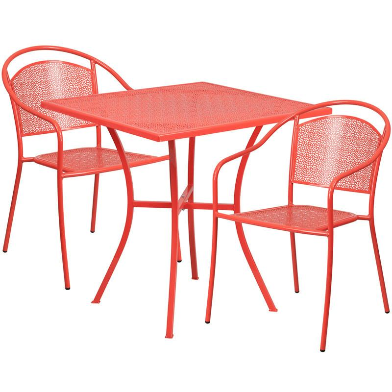 28 Square Coral Indoor Outdoor Steel Patio Table Set with 2 Round Back Chairs