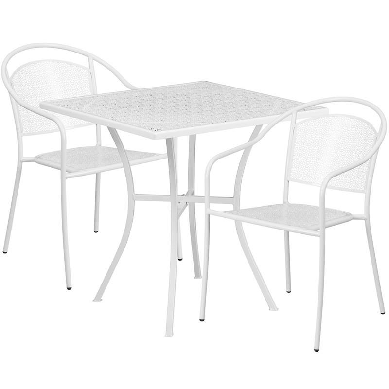 28 Square White Indoor Outdoor Steel Patio Table Set with 2 Round Back Chairs