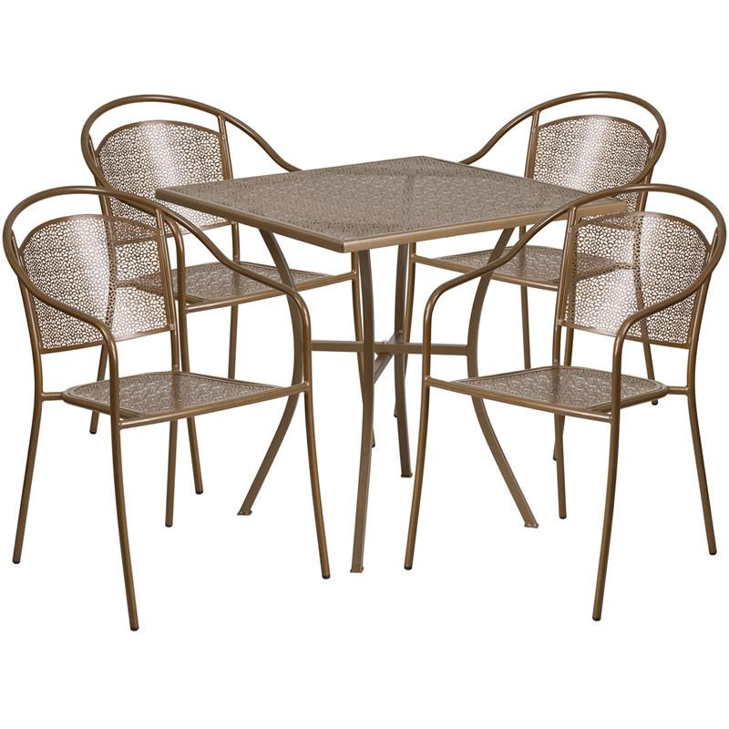 28 Square Gold Indoor Outdoor Steel Patio Table Set with 4 Round Back Chairs