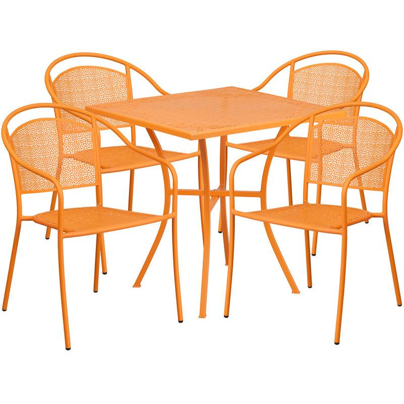 28 Square Orange Indoor Outdoor Steel Patio Table Set with 4 Round Back Chairs
