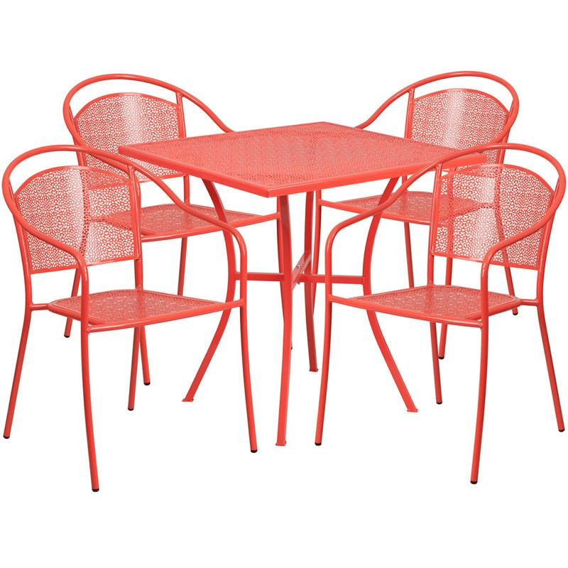 28 Square Coral Indoor Outdoor Steel Patio Table Set with 4 Round Back Chairs